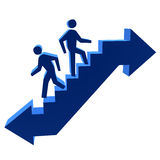 3D Men Walking Up & Down The Stairs Stock Photography