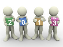 3d men with year 2013 Royalty Free Stock Images