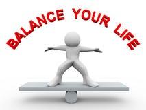 3d mens - breng uw leven in evenwicht Royalty-vrije Stock Afbeelding