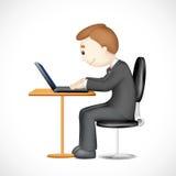 3d Mens die aan Laptop werkt Stock Afbeelding