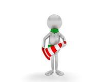 3D mens die de kegel houdt die op wit wordt geïsoleerd. vector illustratie