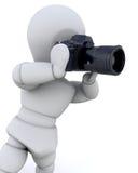 3D mens die een camera met behulp van Stock Foto