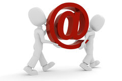 3d mens die het e-mailsymbool draagt Stock Afbeelding
