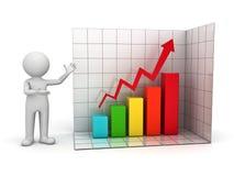3d mens die het toenemen bedrijfsgrafiek toont Stock Fotografie
