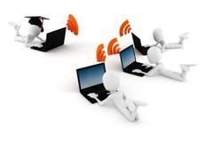 3d mens e-leert, geïsoleerdo op witte achtergrond Stock Afbeeldingen