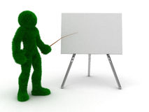 3D mens en aanplakbord dat op wit wordt geïsoleerdc. Stock Illustratie