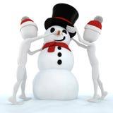 3d mens en een grappige sneeuwmens Royalty-vrije Stock Afbeelding
