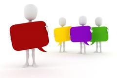 3d mens en kleurrijk bellenpraatje stock illustratie