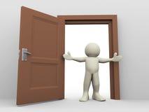 3d mens en open deur Stock Afbeelding