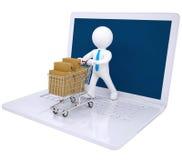 3d mens gemaakt tot online aankopen Stock Fotografie