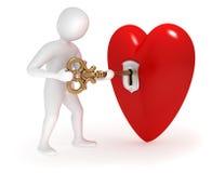 3d mens het openen hart met gouden sleutel Stock Foto's