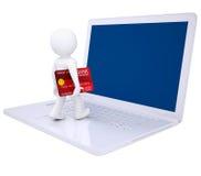 3d mens met creditcard maakt online het winkelen Stock Afbeeldingen