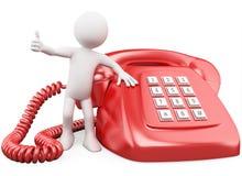 3D mens met een reusachtige rode telefoon Stock Foto's