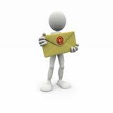 3d mens met grote envelop Stock Foto's