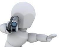 3D mens met handycam royalty-vrije illustratie