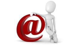3d mens met het e-mailsymbool Royalty-vrije Stock Foto's