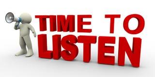 3d mens - tijd te luisteren vector illustratie