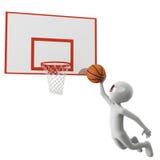 3d mens werpt de bal aan de mand. Stock Afbeelding