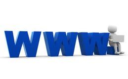 3d menschliches WWW blaues Symbolinternet-Web-Geschäft   Stockfoto