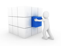 3d menselijk bedrijfskubusblauw Stock Fotografie