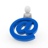 3d menselijk e-mailblauw Stock Afbeeldingen