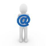 3d menselijk e-mailsymboolblauw Royalty-vrije Stock Fotografie