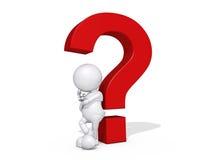 3d Menselijk het Denken van het Karakter Vraagteken Royalty-vrije Stock Afbeeldingen