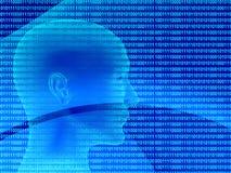 3d menselijk profiel van een binaire code vector illustratie