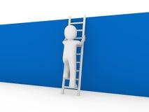 3d menselijke blauw van de laddermuur Stock Afbeeldingen