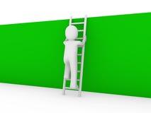 3d menselijke groene laddermuur Royalty-vrije Stock Foto's