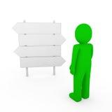 3d menselijke groene richtingspijl Stock Afbeelding