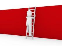 3d menselijke rood van de laddermuur Royalty-vrije Stock Afbeeldingen
