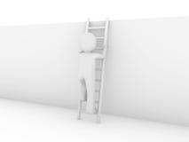 3d menselijke succes van de laddermuur Royalty-vrije Stock Afbeelding