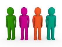 3d menselijke team groene roze sinaasappel Stock Fotografie