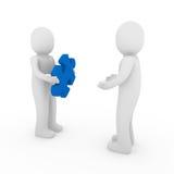 3d mensen brengen blauw groepswerk in verwarring Stock Foto's