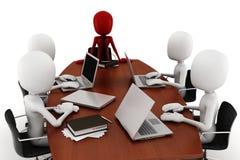 3d mensen commerciële vergadering - over wit royalty-vrije illustratie