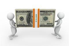 3d mensen die dollarpak houden Stock Afbeelding