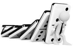 3D mensen. Het tegenhouden van een kettingreactie van domino's Royalty-vrije Stock Afbeelding