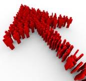 3d mensen rode pijl Stock Afbeelding