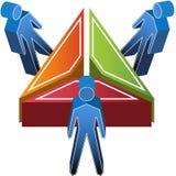 3D Mensen rond Driehoek Stock Afbeeldingen