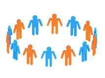 3d mensen in twee cirkels Stock Foto's