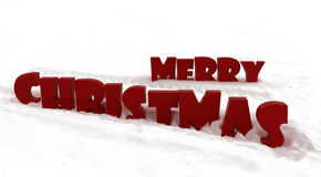 3D merry christmas in snow Stock Photos
