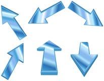 3D metaal blauwe pijlen Stock Afbeeldingen