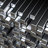 3d metal bars. 3d abstract silver metal bars Stock Image