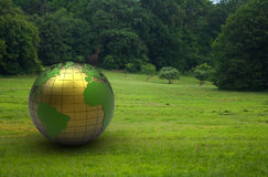 3d metal globe Stock Photo