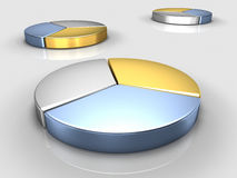 3D Metal Pie Charts Stock Photos