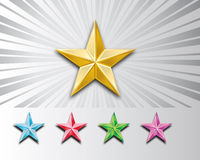 3d metal stars. 3d bevel stars provided in 5 different colors, files available in jpg an ai 8 format Royalty Free Stock Photography