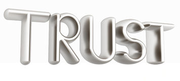 3d metal text trust Stock Images