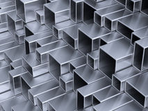 3d metal tubes. 3d abstract silver metal tubes Stock Photo