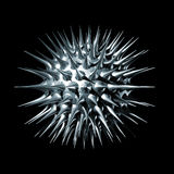 3D Metal Virus. Three dimensional illustration of a metal virus isolated on black background Stock Photos
